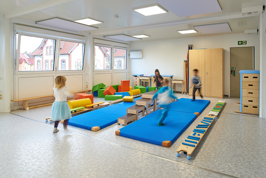 The spacious container facility offers plenty of space for the children to romp and play.